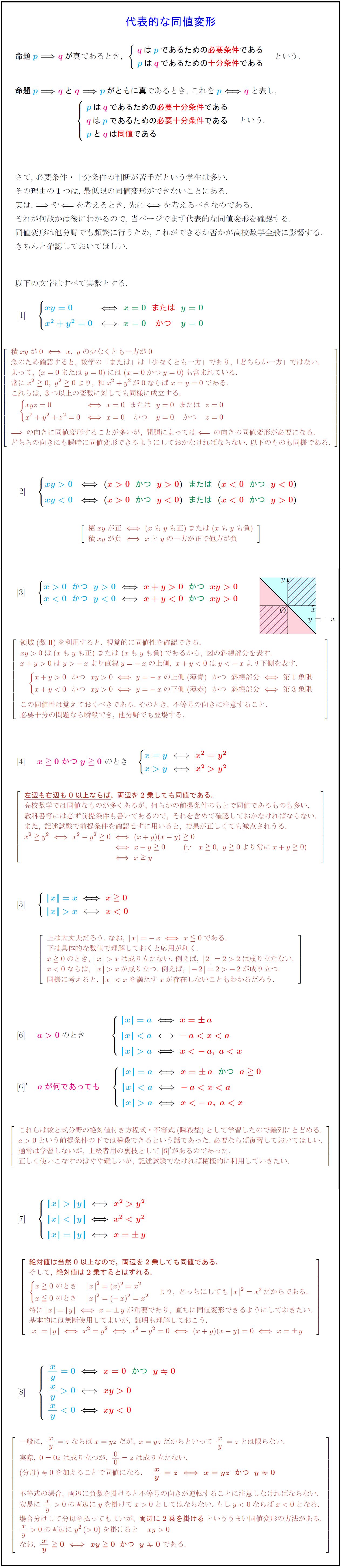 高校数学Ⅰ】代表的な同値変形8パターンとその証明(高校数学最重要 ...