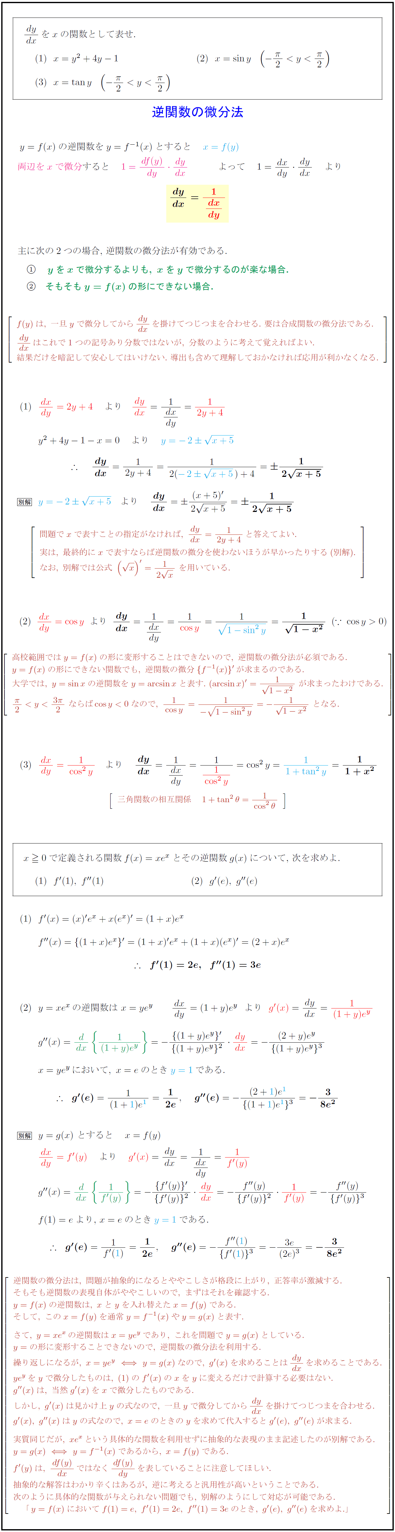 逆関数の微分法 | 受験の月