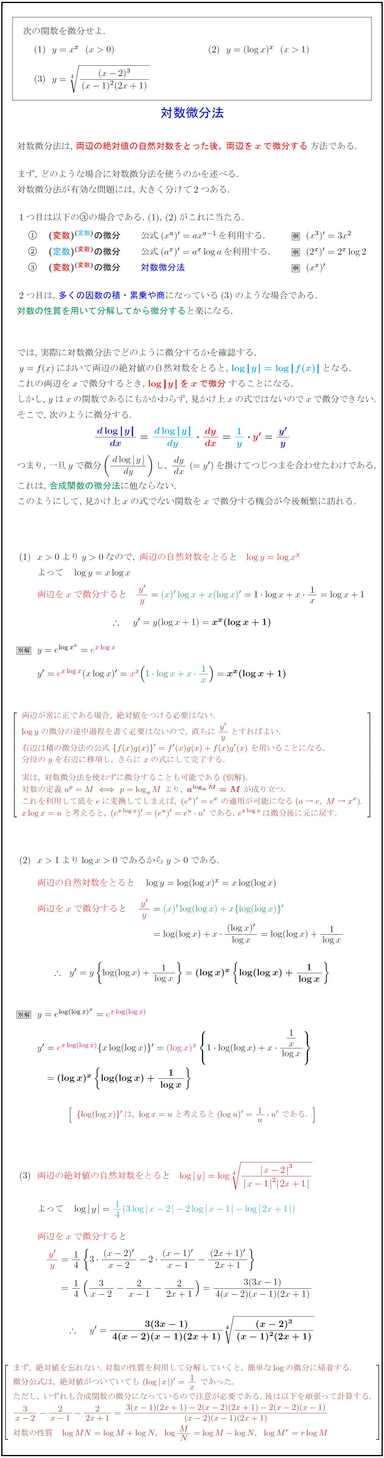 対数微分法:(変数)<sup>(変数)<...