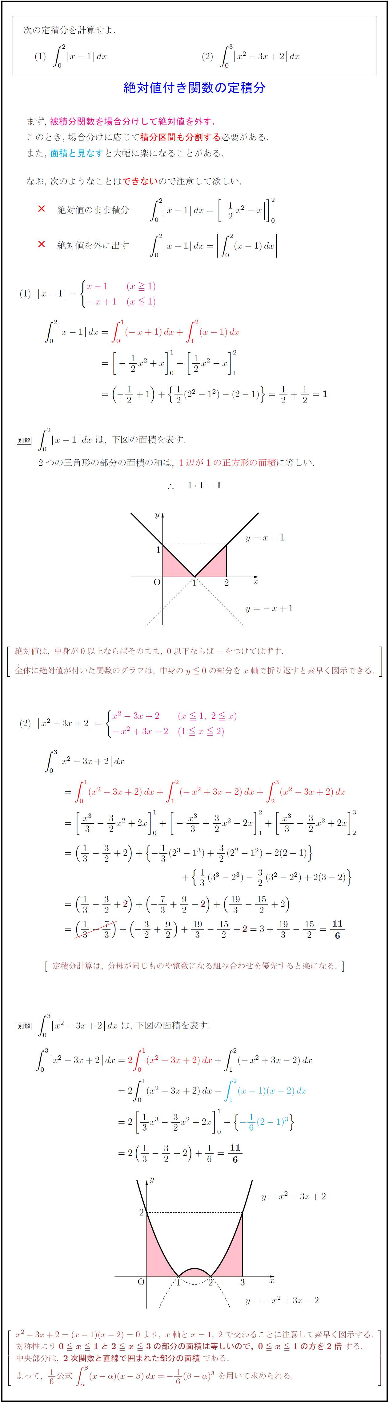 高校数学Ⅱ】絶対値付き関数の定積分(基本) | 受験の月