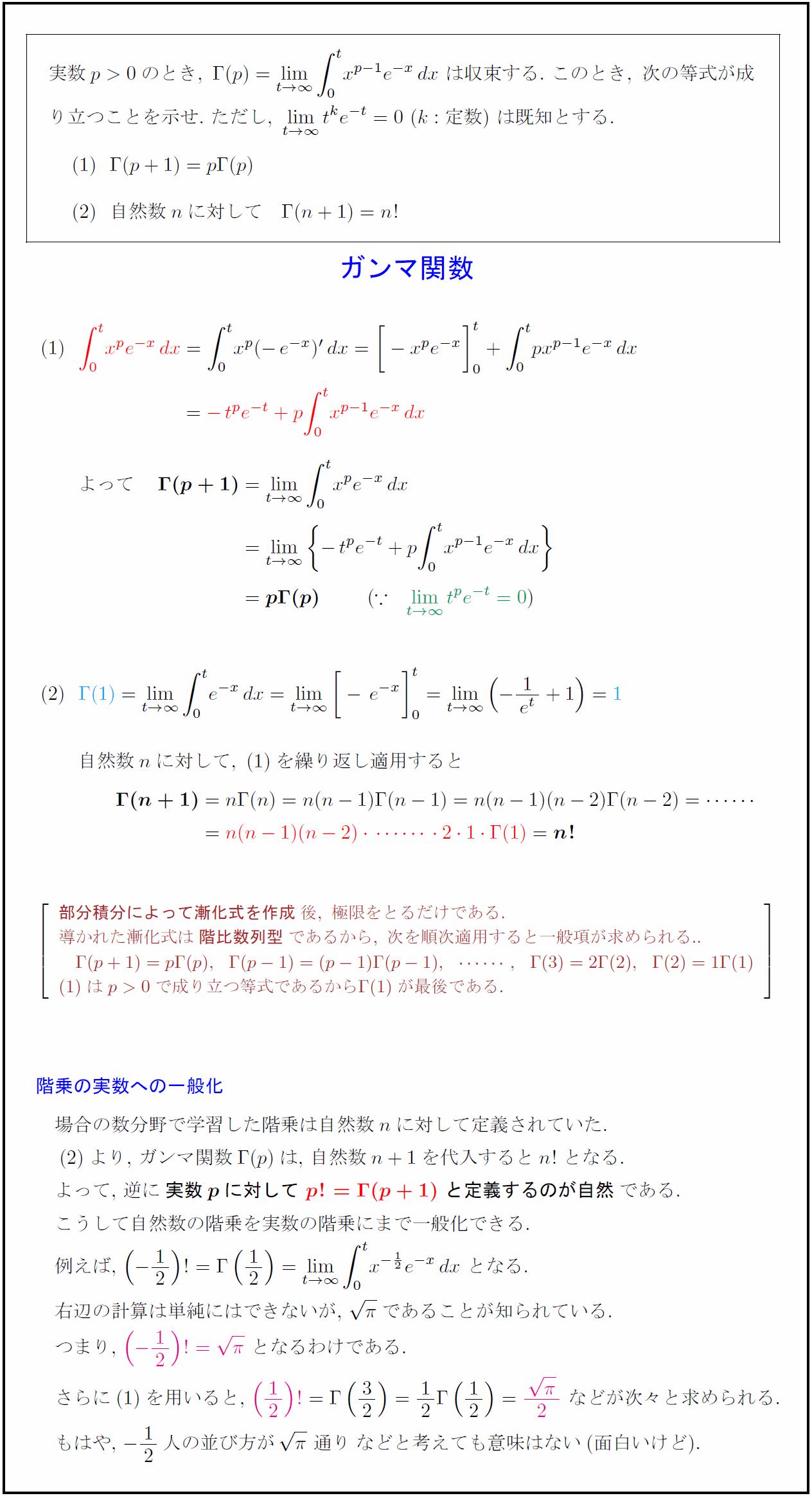 積分漸化式の応用④ ガンマ関数(...