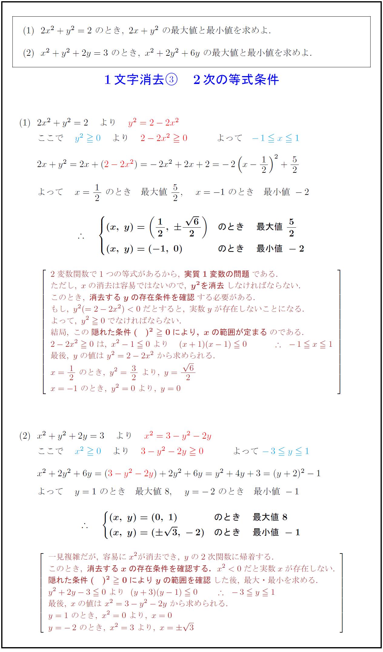 2次の等式条件付き2変数関数の最大・最小 1文字消去法③