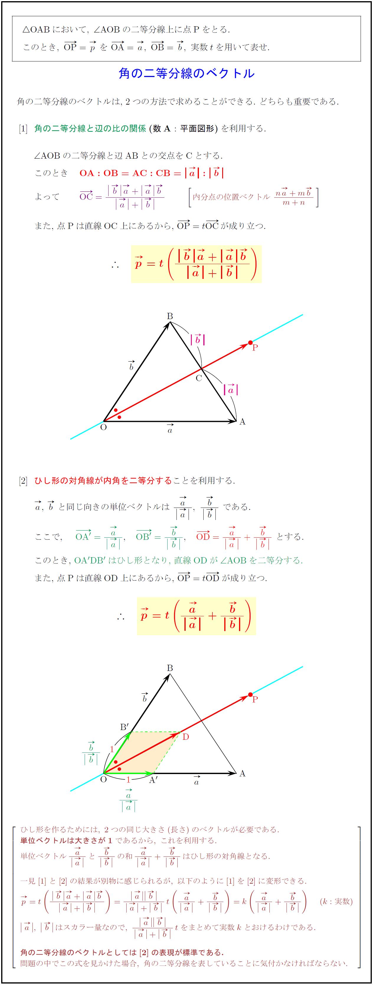 高校数学B】角の二等分線のベクトル2パターン | 受験の月
