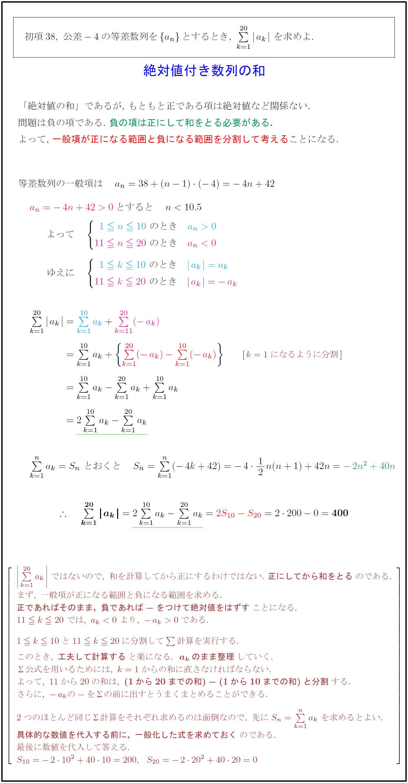 高校数学B】絶対値付き数列の和 Σ|a_k| | 受験の月