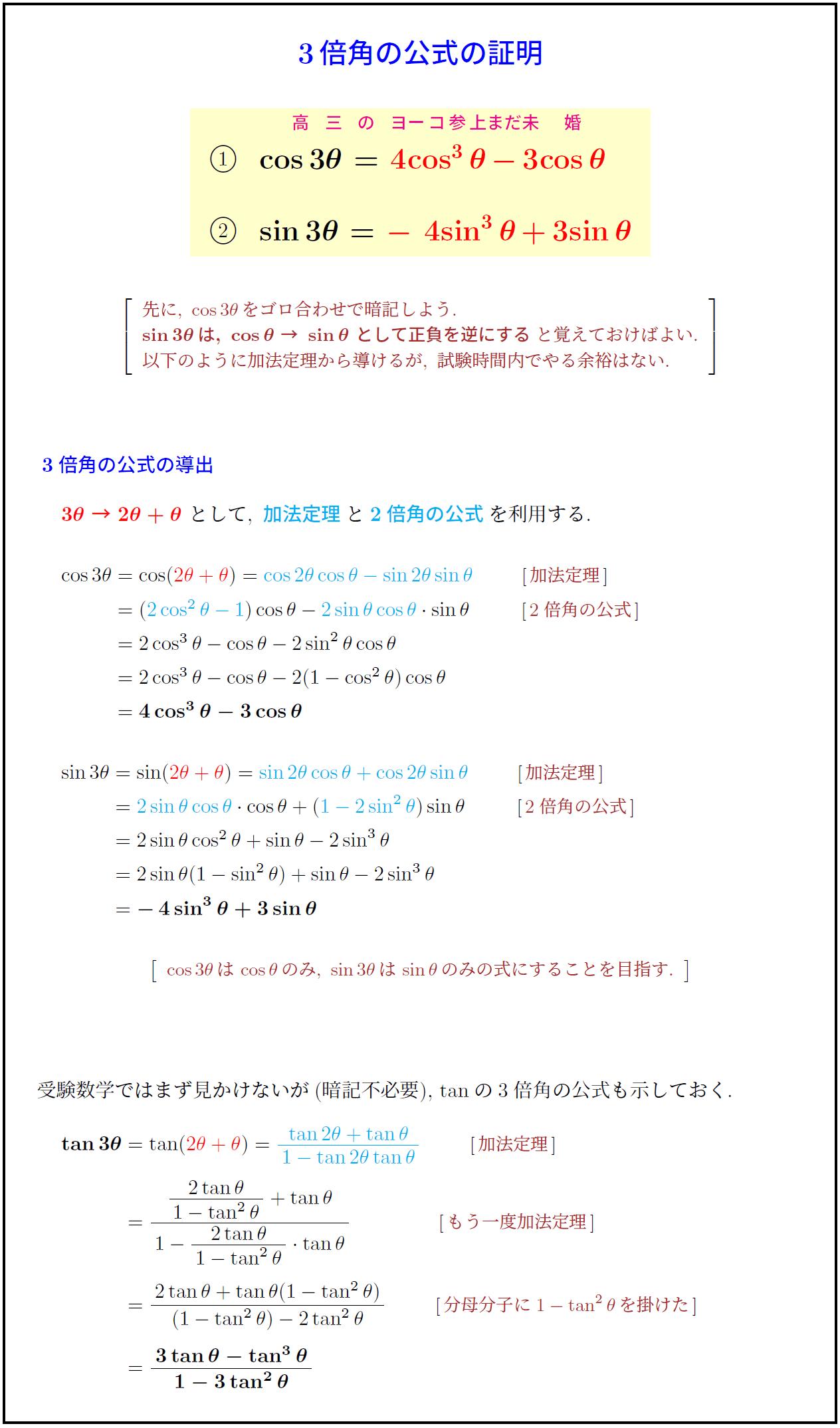 三 倍角 の 公式 3倍角の公式